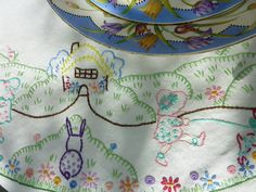 #embroidery. Reminds me of my mother who loved to cook and sew all kinds of things, I still jave some of her work.