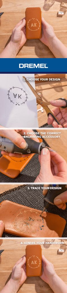 Step by step guide to engraving your leather phone case.