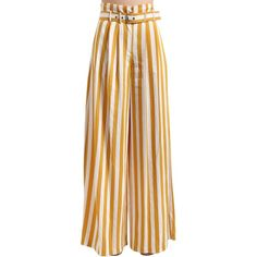 Maison Margiela Women Striped Viscose Twill Wide Leg Pants (255.375 HUF) ❤ liked on Polyvore featuring pants, bottoms, yellow, striped wide leg trousers, high waisted striped trousers, rayon pants, high-waisted trousers and high waisted pants