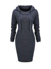 Round Neck Decorative Button Split Belt Bodycon Dress  -  fashionMia.com