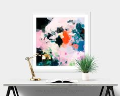Athena, 6x6-36x36in, Large Abstract Fine Art Print, abstract square print, blue abstract, pink, orange abstract