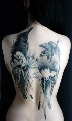 Phenomenal bird back piece by Marta Lipinski. #InkedMagazine #bird #tattoo #tattoos #Inked #ink #art #floral