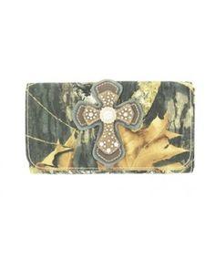 Blazin Roxx Mossy Oak Camo Wallet with Cross