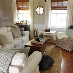 """""""Happy Monday! @ourvintagefarmhouse asked us to share our living room. With our very small open floor plan, this room has to be pretty and functional! This is where the Mr and I lounge at night watching tv, reading, or (in my case) stalking IG and Pinterest. This is also where we gather when all the kids and grand kids are here... There's also a special little place/table (built by my sweet hubby) for the grand babies to color and draw! Best purchase ever was the IKEA ektorp sofa and…"""