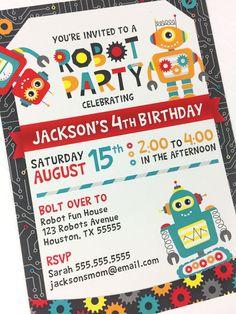 Robot Party Invitation Robot Birthday Invitation Printable
