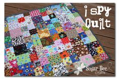 I Spy Quilt - Sugar Bee Crafts - idea for kennel quilts made with repurposed scrubs Quilting Projects, Sewing Projects, Fabric Crafts, Sewing Crafts, I Spy Quilt, Rag Quilt, Circle Quilts, Bee Crafts, Business For Kids