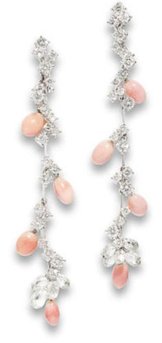A pair of conch pearl and diamond pendent earrings, by Chantecler Each earring designed as a cascade of brilliant-cut diamonds and conch pearl drops, terminating in a cluster of diamond briolettes, brilliant-cut diamonds approximately 2.80 carats total, signed Chantecler, length 7.3cm.