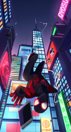 Sony Animation Studios and directors Peter Ramsey, Rodney Rothman, and Bob Persichetti go buck wild with the fantastic Spider-Man: Into the Spider-Verse. Amazing Spiderman, Black Spiderman, Spiderman Spider, Marvel Comics Art, Marvel Heroes, Marvel Avengers, Man Wallpaper, Marvel Wallpaper, Miles Morales Spiderman