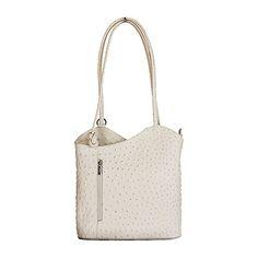 Multi-Way Cream Ostrich Leather Shoulder Bag/Backpack - £49.99