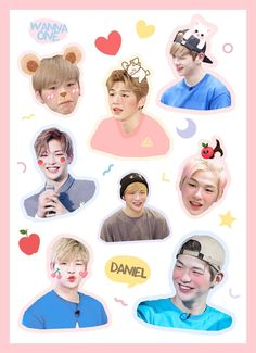 Pop Stickers, Tumblr Stickers, Printable Stickers, Jaehwan Wanna One, Memo Notepad, Wall Drawing, Kpop Merch, Good Notes, Flower Boys