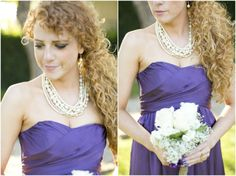 Dallas wedding photographer, bridal party, purple bridesmaid dress, white and purple wedding bouquet, pearl wedding jewelry, curly hair, Scottish Spring Wedding | Fort Worth, TX, Mary Fields Photography