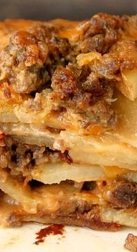 Meat and #Potato Casserole with Cream of Mushroom and Cheddar Cheese | #Idaho | Visitidaho.org