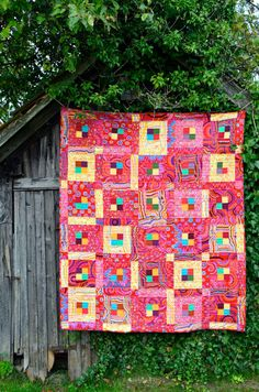 Kaffe Fassett Lap Quilt – Modern Designer Blanket, Heirloom Quality, Red, Yellow, Turquoise, Nursery, Cot, Bedding, Patchwork, Bright, Bold