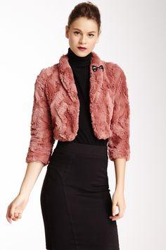 Faux Fur Jacket in Dusty Rose