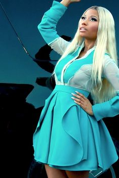 Hot! or Hmm... Nicki Minaj's Twitter American Idol Antonio Berardi Contrast Panel Long Sleeve Shirt, Teal Pleated Skirt, and Giuseppe Zanotti Booties