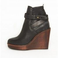 Rag & Bone Emery Wedge in Black - wooden wedge boot with contrasting wood heel and black leather upper