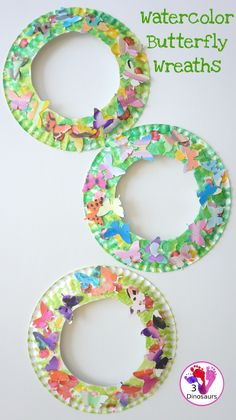 Fun To Make Watercolor Butterfly Wreaths - fun painting and craft activity with a butterfly theme - 3Dinosaurs.com #3dinosaurs #craftsforkids #bugcrafts #wreaths #spring