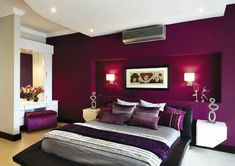 Purple creates a sultry mood in a bedroom! Change to Dark GREEN. it would be perfection