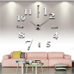 Modern 3D Big Size Mirror Sticker DIY Wall Clock 10 Color Options Available-Loluxe