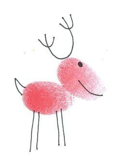Pour les cartes de Noël faites par les enfants. On ajoutera un nez rouge qui brille!
