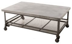 Urban Mercantile Galvanized Steel Coffee Table - industrial - Coffee Tables - Kathy Kuo Home Interesting- goes with the bar cart. Might be too much steel and concrete in one space?