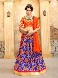 Having fabric jacquard and silk. This enticing attire is showing some incredible work done with print. Comes with matching choli and dupatta. Cotton Lehenga, Bridal Lehenga Choli, Silk Lehenga, Saree, Wedding Lehenga Designs, Black Lehenga, Blue Art, Embroidered Silk, Festival Wear