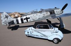 Messershmitt fighter and car at Dream Machines