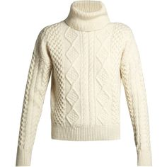 Saint Laurent Roll-neck cable-knit sweater (68.530 RUB) ❤ liked on Polyvore featuring tops, sweaters, ivory, white cable knit sweater, ivory sweater, winter white sweater, chunky white sweater and cable knit sweater