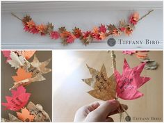 Under The Table and Dreaming: 20 Thankful Garlands and Gratitude Tree Crafts for November {Saturday Inspiration & Ideas} .Love the framed paper tree, leaf garland, and vintage tags on branches! Thanksgiving Crafts, Thanksgiving Decorations, Fall Crafts, Holiday Crafts, Holiday Fun, Christmas Diy, Harvest Decorations, Holiday Decorations, Holiday Ideas