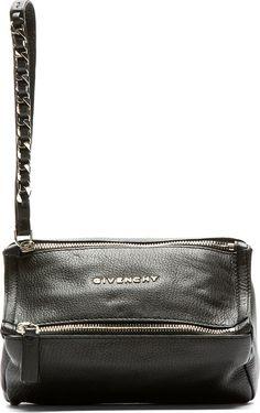 Givenchy - Black Leather Pandora Wristlet Pouch