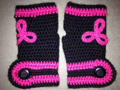 Button wristers with celtic peace knot (hot pink & black)