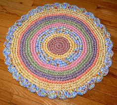 Round Hand Crocheted Cotton Fabric Rag Rug, Pastel with Scalloped Border Crochet Round, Hand Crochet, Hand Knitting, Halloween Sewing, Small Blankets, Gifts For New Parents, Scalloped Edge, Crochet Projects, Cotton Fabric