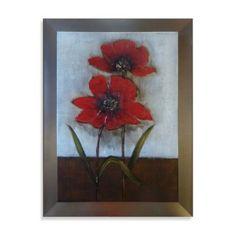 Fancy Red Flower Embellished Canvas Wall Art - BedBathandBeyond.com