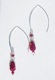Czech Crystal Pave earrings fuschia earrings by KarmaKittyJewelry