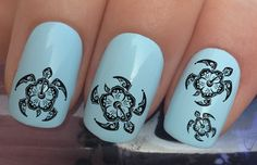 nail decals #332 sea turtle caretta caretta tribal hibiscus flowers water transfers stickers manicure art set x24 by Nailiciousuk on Etsy