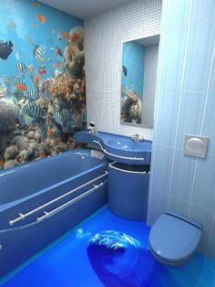 Maybe move the dolphin so it isn't looking at you as you pee. Amazing floor art though! 3d Floor Art, Floor Murals, Wall Murals, 3d Flooring, Bathroom Flooring, Epoxy Floor Designs, Toilette Design, Floors And More, Floor Wallpaper