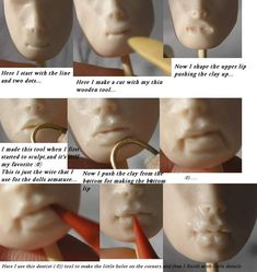 Lip Tutorial - How to sculpt lips for art doll by Maryna. OOAKGuild.com ~ The OG ~ One of A Kind Art Dolls & Sculptures › OG Library ›