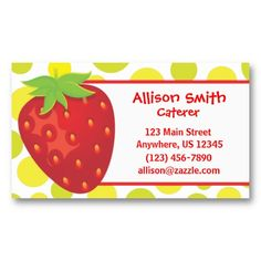 Polka Dot Strawberry Business or Calling Cards. www.gem-ann.com (Zazzle store)