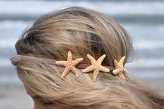 Mermaid Girl - Triple Starfish Headband Three Starfish on Elastic Headband Hippie Headwrap. via Etsy.