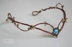 Woodland elf tiara  elven headpiece  fairy crown  BLUE by Ayalga