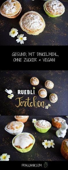 Rüblimuffins- gesund, mit Dinkelmehl, ohne Zucker & vegan! Für ein gesundes Osterfest!!