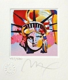 "Liberty Head VI, Ltd Ed Lithograph (Mini 3.5"" x 3""), Peter Max - SIGNED with COA"