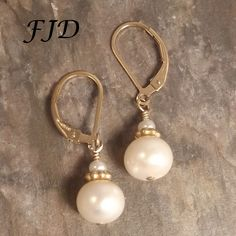 Pearl and Gold Earrings by FelicityDesignsLLC on Etsy
