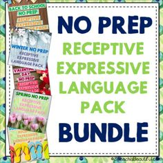 No Prep Receptive and Expressive Language Bundle Pack for all the seasons, including Halloween, thanksgiving, winter, spring, summer, Valentine's Day, and more! Also includes themed bundles - pirate, animals and picnic. You save when you purchase the bundle! - Speech is Beautiful #receptivelanguage #backtoschoolspeechtherapy #expressivelanguage #languagetherapy #speechtherapy