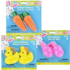 Set of 3 Easter Themed Bubbles Brand New in Packaging Carrot Egg Chick Wands Stick