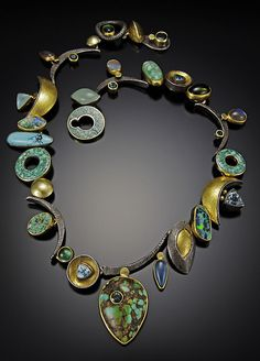 Necklace | Jeff and Susan Wise.  Oxidized sterling silver, 18 & 22k gold, turquoise, tourmaline, opal, zircon and aquamarine