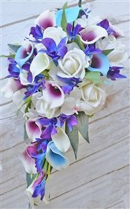Natural Touch Purple Blue Orchids, Picasso Callas and Roses Cascading Bouquet - wedding flowers - wedding details Classic Wedding Flowers, Wedding Flower Guide, Lilac Wedding, Purple Wedding Flowers, Wedding Colors, Wedding Tux, Wedding Flats, Wedding Tables, Elegant Wedding