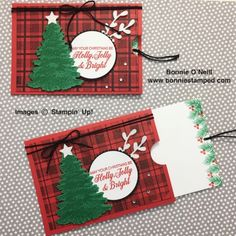 Pocket Card for a Gift Card Every once in a while, a card design from another demonstrator catches my eye. A friend of mine shared this pocket card design and I Christmas Gift Card Holders, Christmas Tag, Holiday Cards, Christmas Cards, Homemade Christmas, Gift Cards Money, Gift Card Cards, Stampin Up, Christmas Paper Crafts