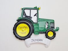 Personalized Tractor Christmas Ornament - Tractor Christmas Ornament by OrindasOrnaments on Etsy