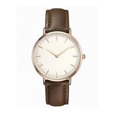 Simplistic Stainless Steel Case Quartz Watch Leather Strap